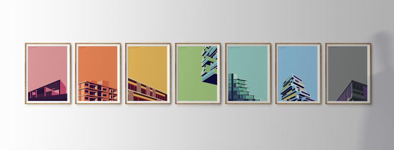 three wooden frames on wall; Shutterstock ID 132043805